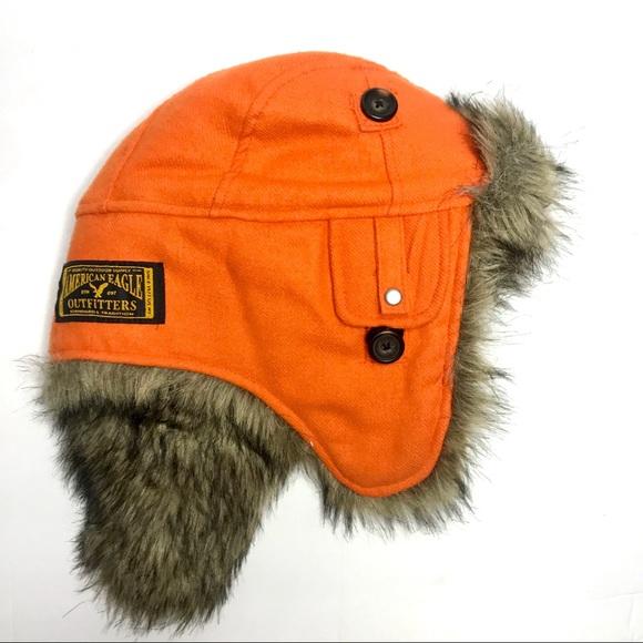 American EagleOutfitters Trapper Hat Orange NWT 0b09647932f